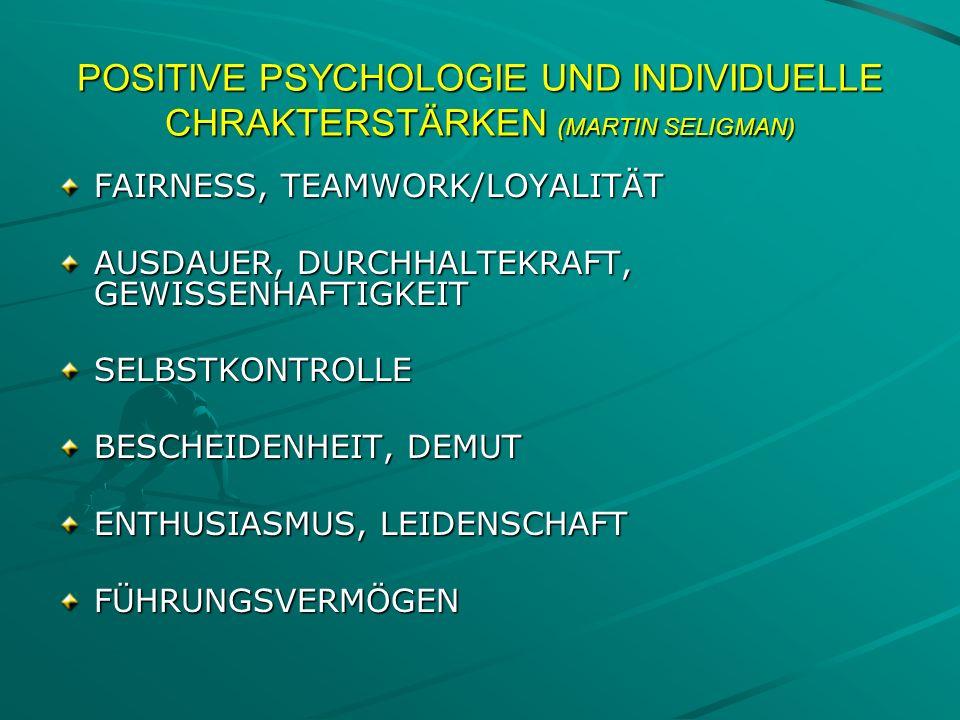 POSITIVE PSYCHOLOGIE UND INDIVIDUELLE CHRAKTERSTÄRKEN (MARTIN SELIGMAN) FAIRNESS, TEAMWORK/LOYALITÄT AUSDAUER, DURCHHALTEKRAFT, GEWISSENHAFTIGKEIT SEL