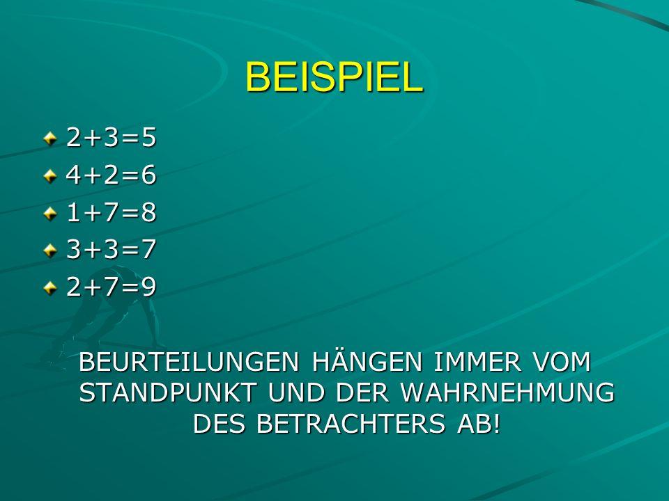 BEISPIEL 2+3=54+2=61+7=83+3=72+7=9 BEURTEILUNGEN HÄNGEN IMMER VOM STANDPUNKT UND DER WAHRNEHMUNG DES BETRACHTERS AB!