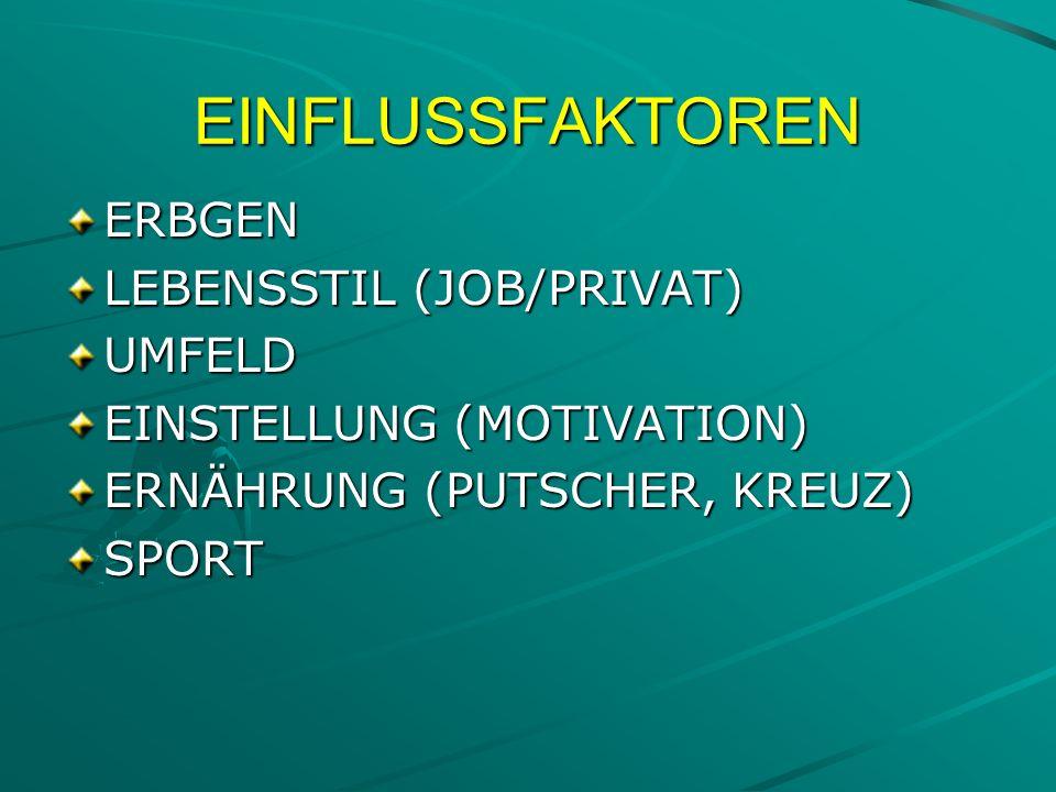 EINFLUSSFAKTOREN ERBGEN LEBENSSTIL (JOB/PRIVAT) UMFELD EINSTELLUNG (MOTIVATION) ERNÄHRUNG (PUTSCHER, KREUZ) SPORT