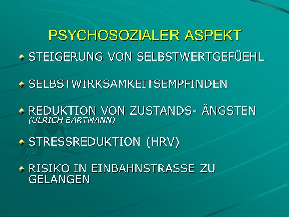 PSYCHOSOZIALER ASPEKT STEIGERUNG VON SELBSTWERTGEFÜEHL SELBSTWIRKSAMKEITSEMPFINDEN REDUKTION VON ZUSTANDS- ÄNGSTEN ( ULRICH BARTMANN) STRESSREDUKTION