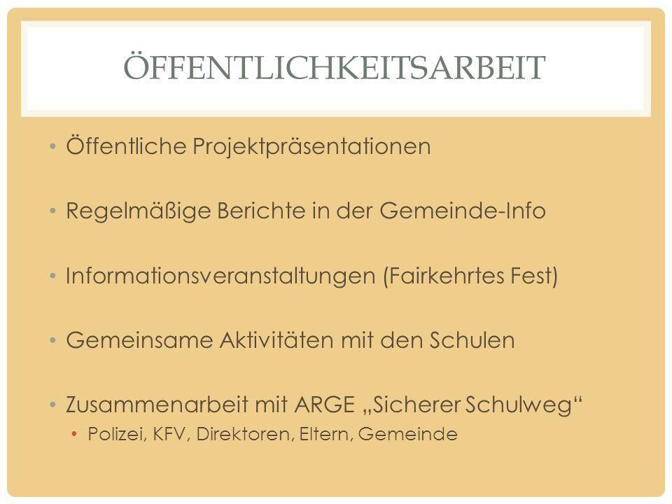ÖFFENTLICHKEITSARBEIT Öffentliche Projektpräsentationen Regelmäßige Berichte in der Gemeinde-Info Informationsveranstaltungen (Fairkehrtes Fest) Gemei
