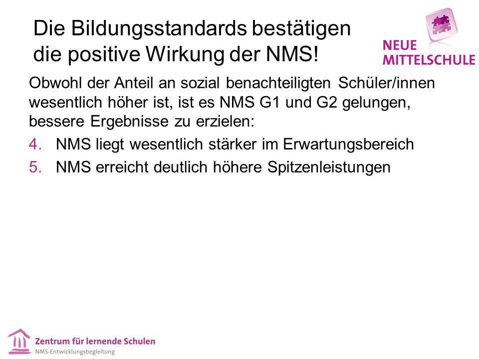 Die Bildungsstandards bestätigen die positive Wirkung der NMS.