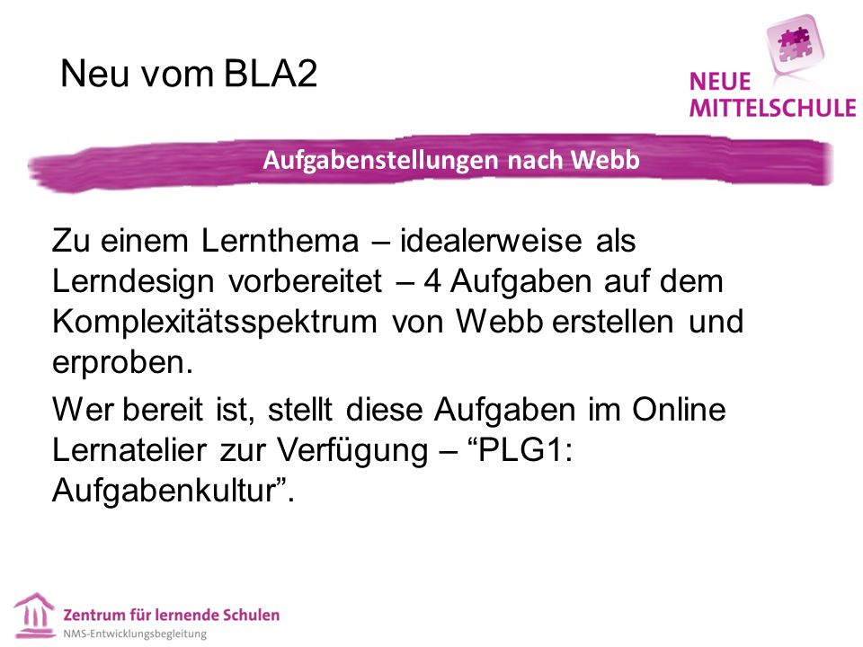 Neu vom BLA2 Zu einem Lernthema – idealerweise als Lerndesign vorbereitet – 4 Aufgaben auf dem Komplexitätsspektrum von Webb erstellen und erproben.