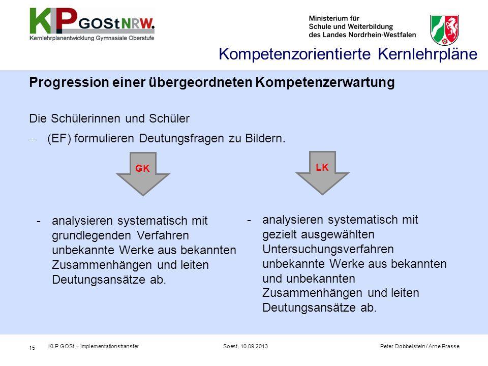 Kompetenzorientierte Kernlehrpläne Progression einer übergeordneten Kompetenzerwartung Die Schülerinnen und Schüler  (EF) formulieren Deutungsfragen zu Bildern.