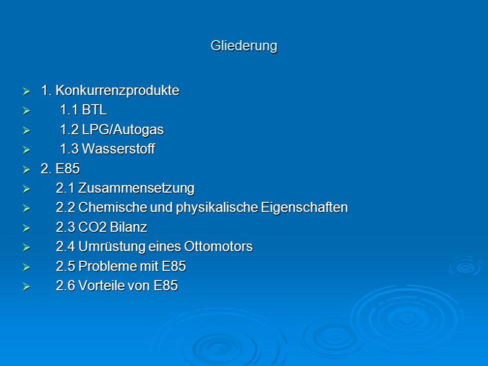 Gliederung  1. Konkurrenzprodukte  1.1 BTL  1.2 LPG/Autogas  1.3 Wasserstoff  2.