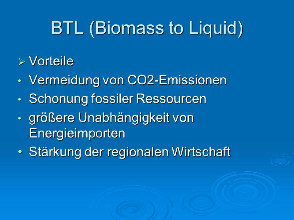 BTL (Biomass to Liquid)  Vorteile Vermeidung von CO2-Emissionen Vermeidung von CO2-Emissionen Schonung fossiler Ressourcen Schonung fossiler Ressourcen größere Unabhängigkeit von Energieimporten größere Unabhängigkeit von Energieimporten Stärkung der regionalen WirtschaftStärkung der regionalen Wirtschaft