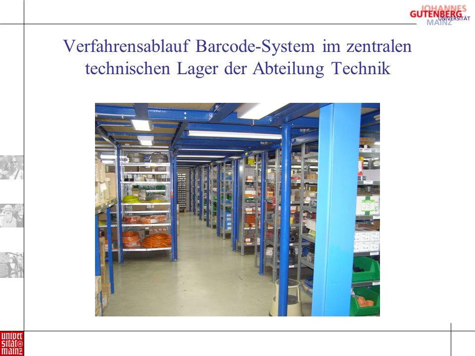 Verfahrensablauf Barcode-System im zentralen technischen Lager der Abteilung Technik