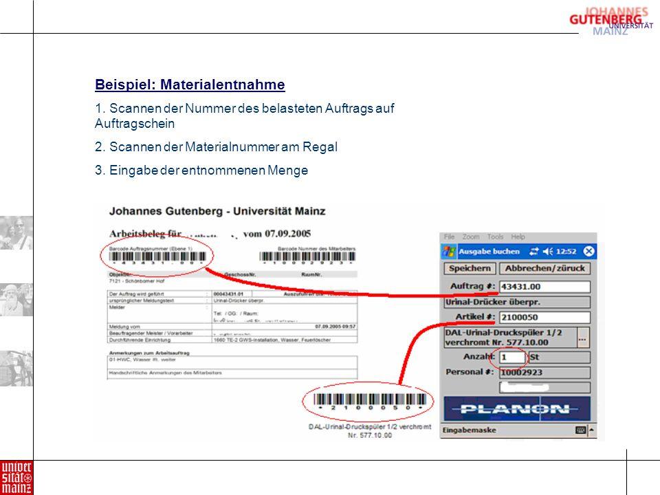 Beispiel: Materialentnahme 1.Scannen der Nummer des belasteten Auftrags auf Auftragschein 2.