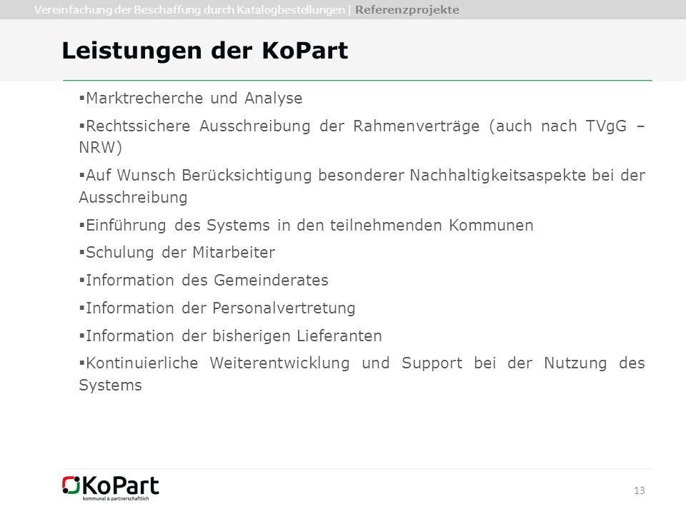 13 Leistungen der KoPart  Marktrecherche und Analyse  Rechtssichere Ausschreibung der Rahmenverträge (auch nach TVgG – NRW)  Auf Wunsch Berücksicht
