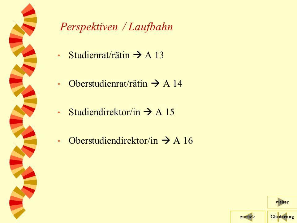 Gliederungzurück weiter 39 Perspektiven / Laufbahn Studienrat/rätin  A 13 Oberstudienrat/rätin  A 14 Studiendirektor/in  A 15 Oberstudiendirektor/in  A 16