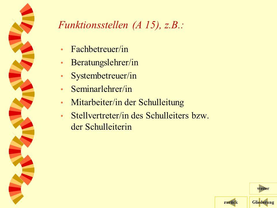 Gliederungzurück weiter 40 Funktionsstellen (A 15), z.B.: Fachbetreuer/in Beratungslehrer/in Systembetreuer/in Seminarlehrer/in Mitarbeiter/in der Schulleitung Stellvertreter/in des Schulleiters bzw.