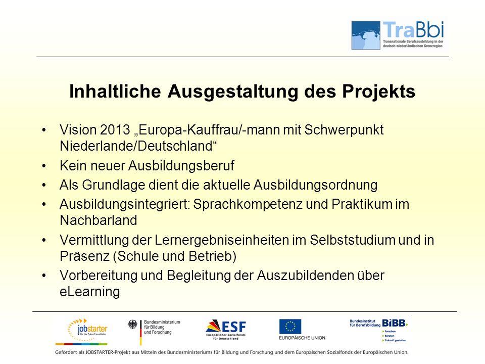 """Inhaltliche Ausgestaltung des Projekts Vision 2013 """"Europa-Kauffrau/-mann mit Schwerpunkt Niederlande/Deutschland"""" Kein neuer Ausbildungsberuf Als Gru"""