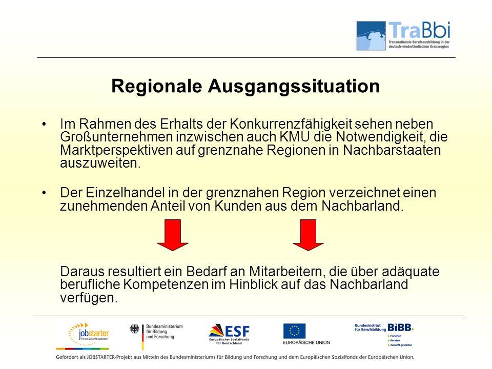 Regionale Ausgangssituation Im Rahmen des Erhalts der Konkurrenzfähigkeit sehen neben Großunternehmen inzwischen auch KMU die Notwendigkeit, die Marktperspektiven auf grenznahe Regionen in Nachbarstaaten auszuweiten.