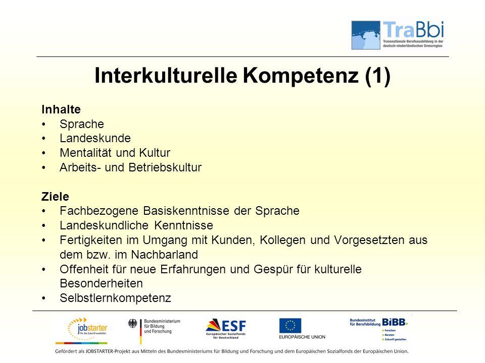 Interkulturelle Kompetenz (1) Inhalte Sprache Landeskunde Mentalität und Kultur Arbeits- und Betriebskultur Ziele Fachbezogene Basiskenntnisse der Spr
