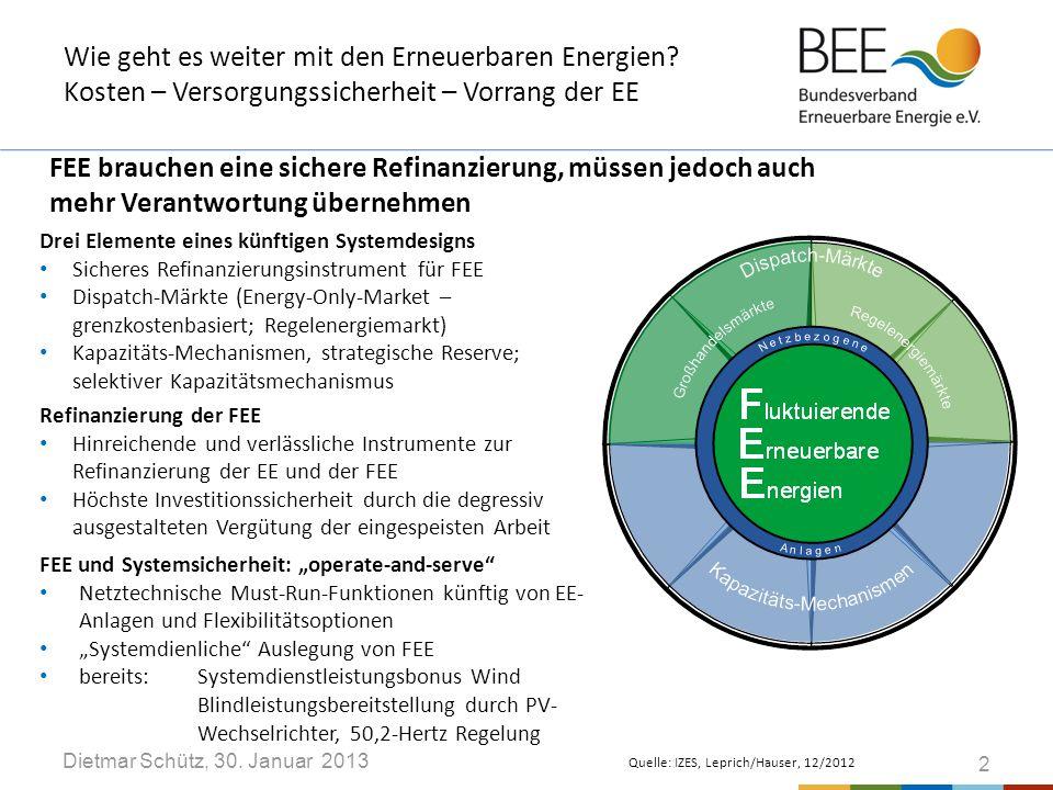 Dietmar Schütz, 30.Januar 2013 Wie geht es weiter mit den Erneuerbaren Energien.