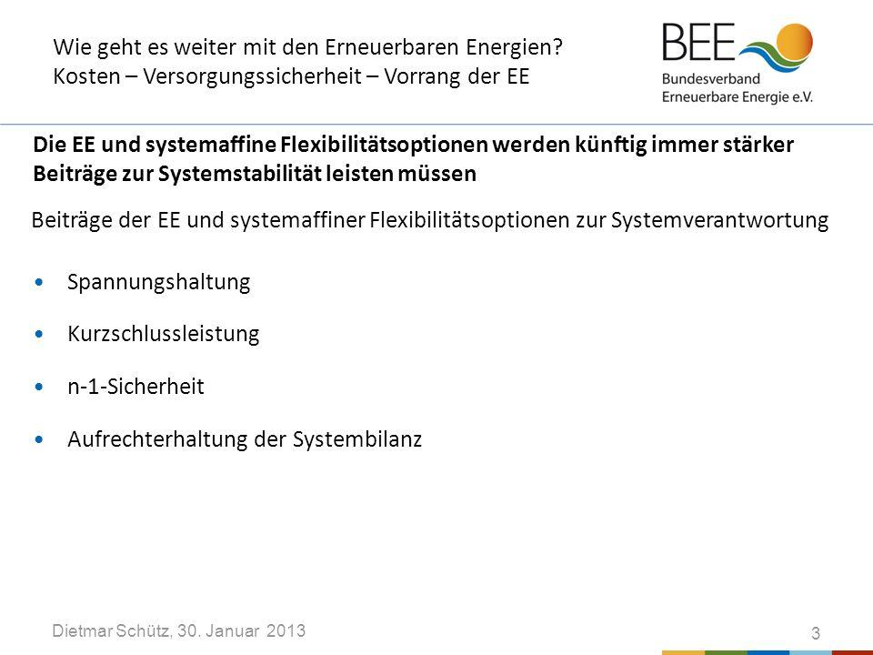 Dietmar Schütz, 30. Januar 2013 Wie geht es weiter mit den Erneuerbaren Energien.
