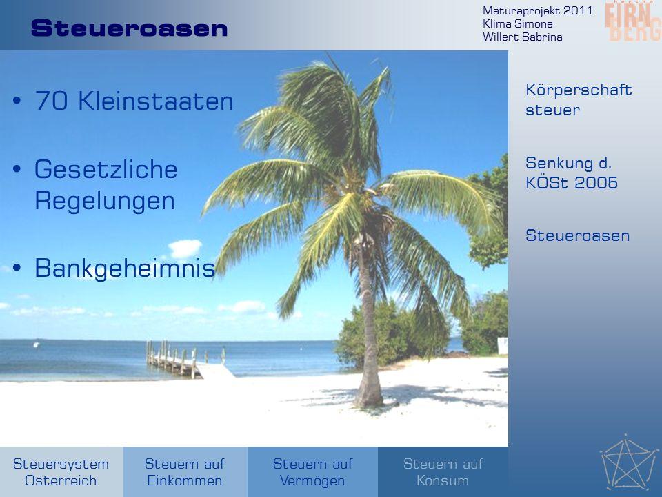 Maturaprojekt 2011 Klima Simone Willert Sabrina Steuersystem Österreich Steuern auf Einkommen Steuern auf Konsum Steuern auf Vermögen Steueroasen 70 Kleinstaaten Gesetzliche Regelungen Bankgeheimnis Körperschaft steuer Senkung d.