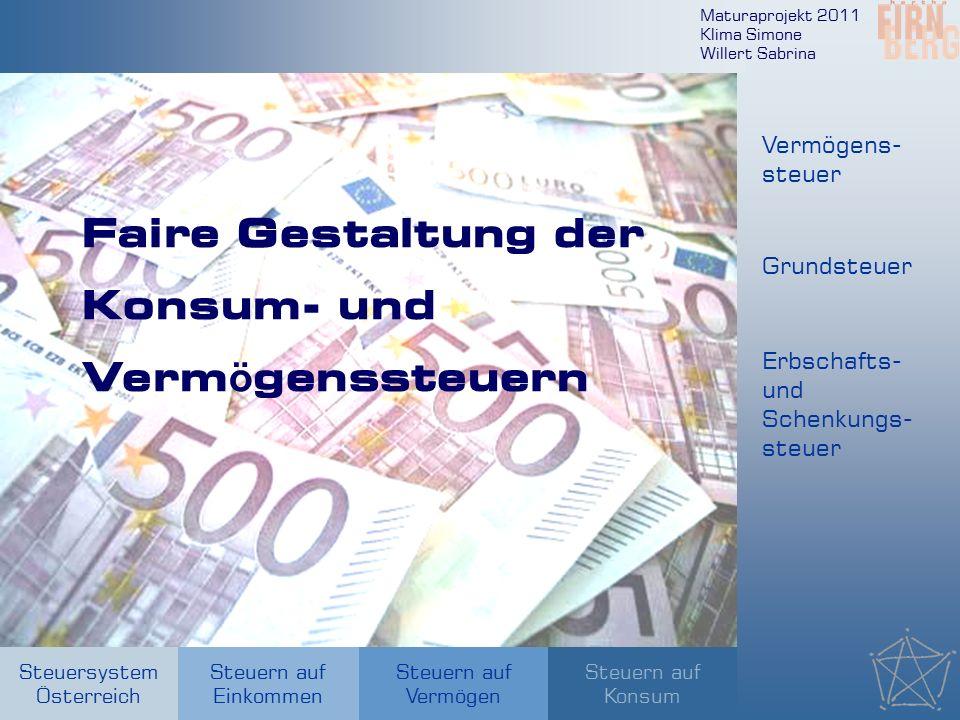 Maturaprojekt 2011 Klima Simone Willert Sabrina Steuersystem Österreich Steuern auf Einkommen Steuern auf Konsum Steuern auf Vermögen Faire Gestaltung der Konsum- und Verm ö genssteuern Vermögens- steuer Grundsteuer Erbschafts- und Schenkungs- steuer