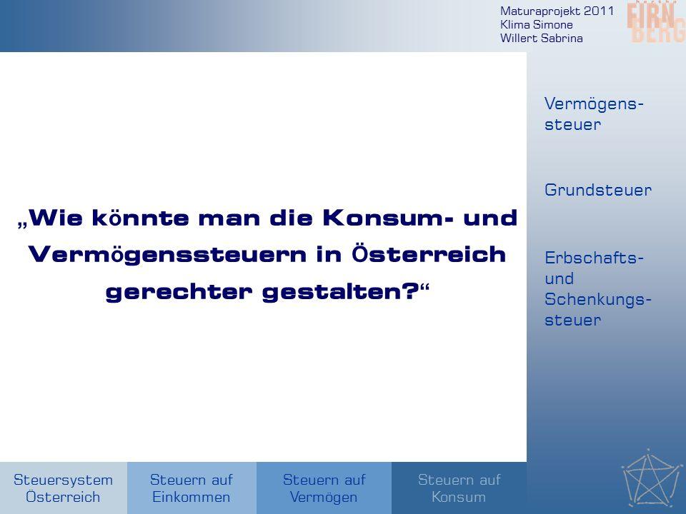 """Maturaprojekt 2011 Klima Simone Willert Sabrina Steuersystem Österreich Steuern auf Einkommen Steuern auf Konsum Steuern auf Vermögen """" Wie k ö nnte m"""