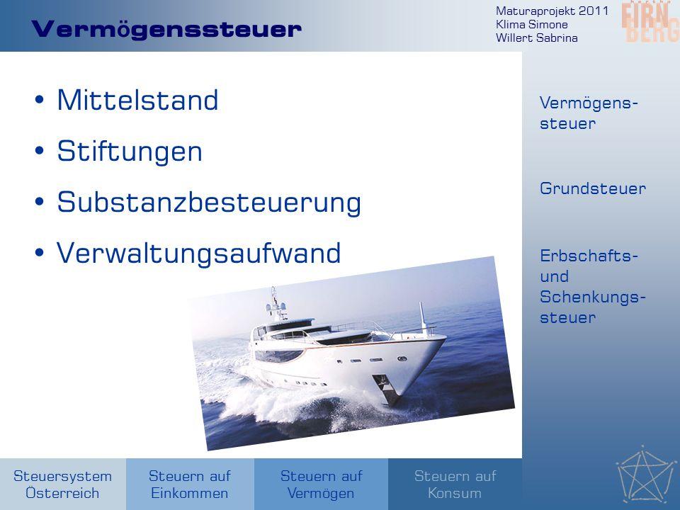 Maturaprojekt 2011 Klima Simone Willert Sabrina Steuersystem Österreich Steuern auf Einkommen Steuern auf Konsum Steuern auf Vermögen Verm ö genssteue