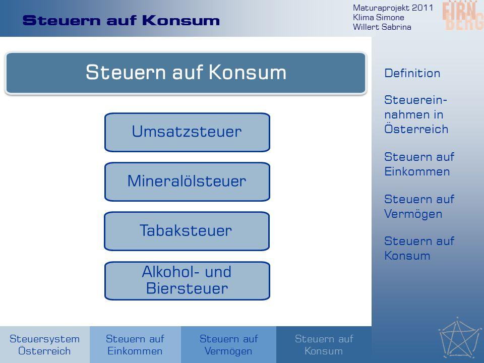 Maturaprojekt 2011 Klima Simone Willert Sabrina Steuersystem Österreich Steuern auf Einkommen Steuern auf Konsum Steuern auf Vermögen Steuern auf Konsum Umsatzsteuer Mineralölsteuer Tabaksteuer Alkohol- und Biersteuer Definition Steuerein- nahmen in Österreich Steuern auf Einkommen Steuern auf Vermögen Steuern auf Konsum