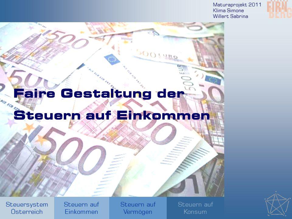 Maturaprojekt 2011 Klima Simone Willert Sabrina Steuersystem Österreich Steuern auf Einkommen Steuern auf Konsum Steuern auf Vermögen Faire Gestaltung der Steuern auf Einkommen