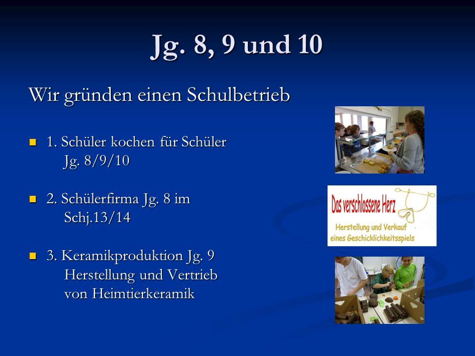 Jg. 8, 9 und 10 Wir gründen einen Schulbetrieb 1.