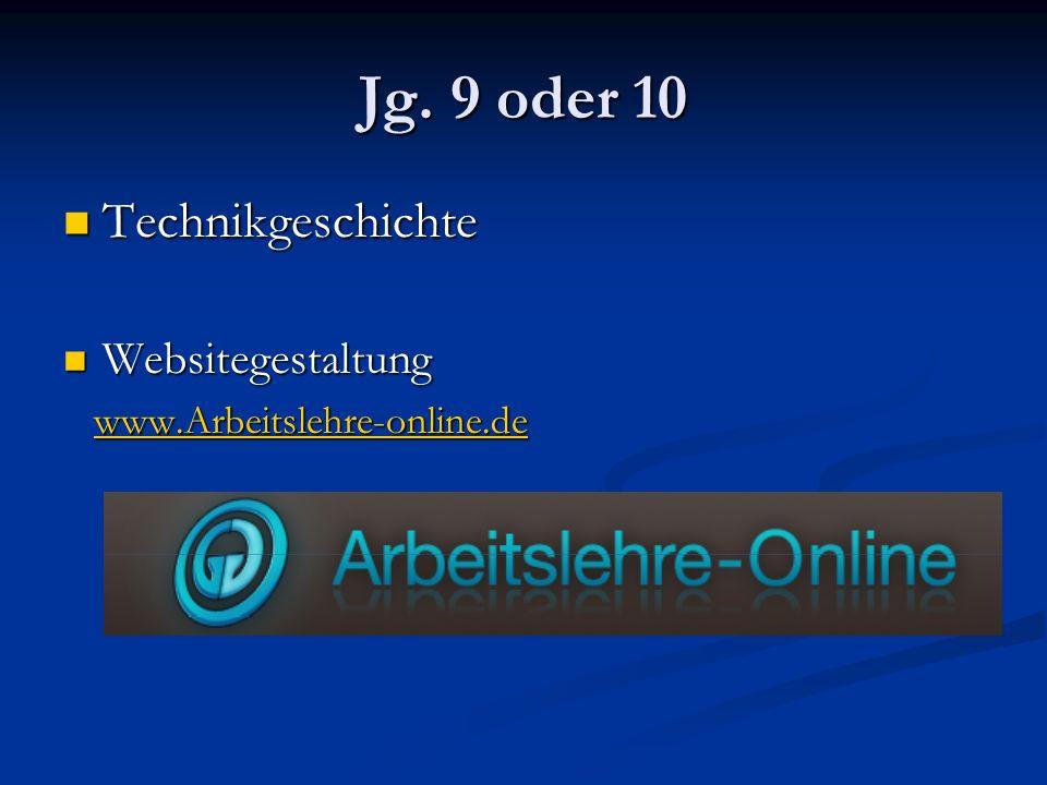 Jg. 9 oder 10 Technikgeschichte Technikgeschichte Websitegestaltung Websitegestaltung www.Arbeitslehre-online.de www.Arbeitslehre-online.dewww.Arbeits