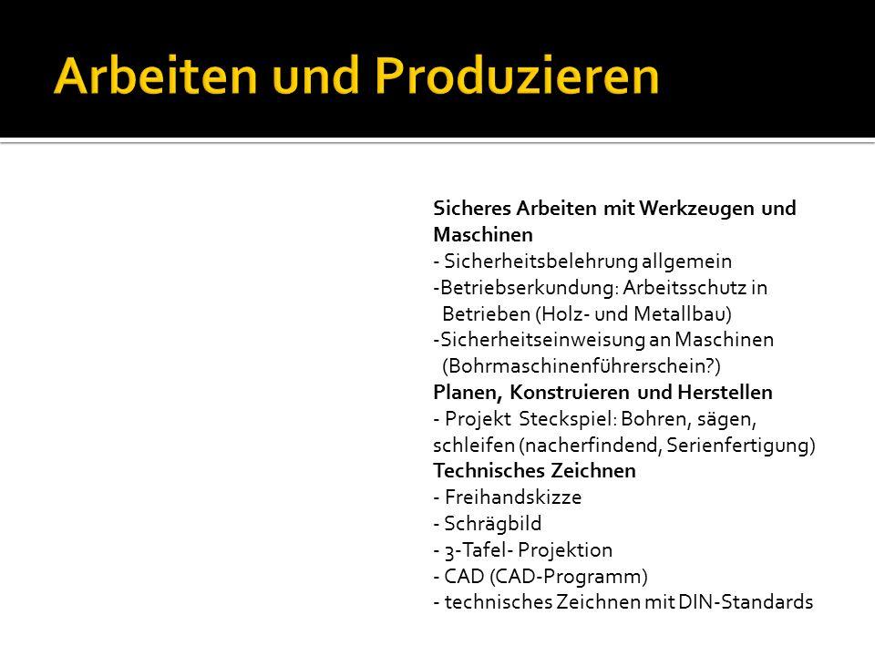Sicheres Arbeiten mit Werkzeugen und Maschinen - Sicherheitsbelehrung allgemein -Betriebserkundung: Arbeitsschutz in Betrieben (Holz- und Metallbau) -