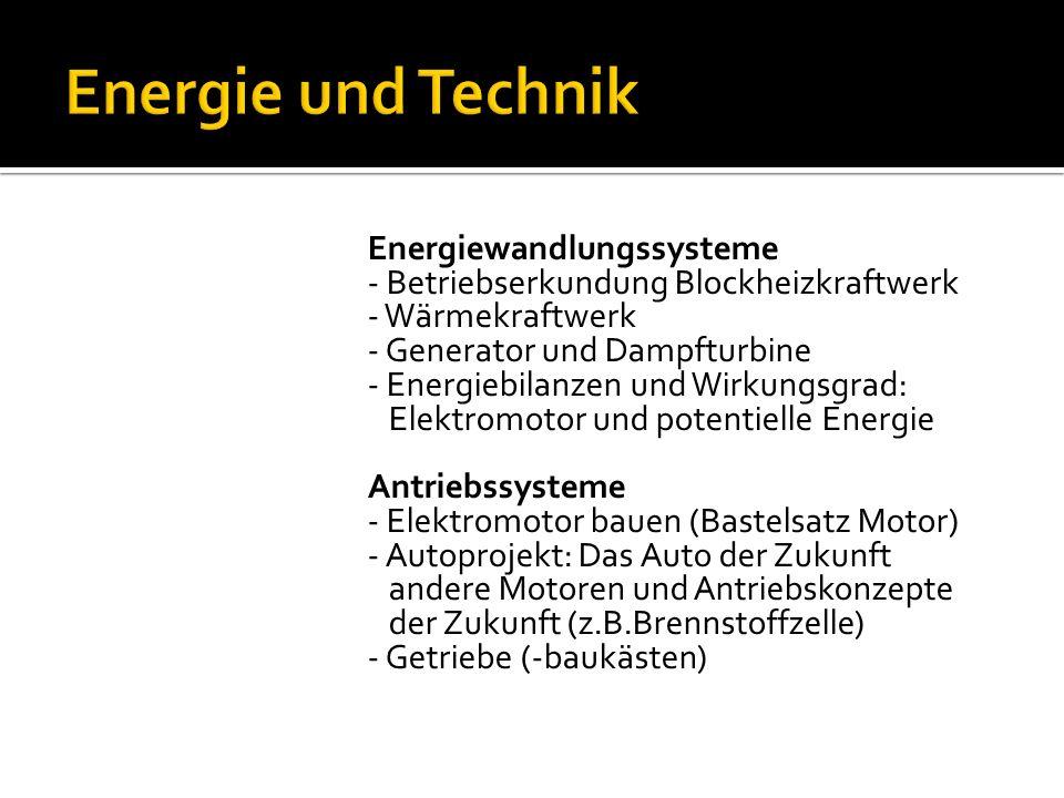 Bionik - Beispiele aus der Bionik: Klette – Klettverschluss, Lotosblatteffekt Regenerative Energien - Solaranlage (Solarprojekt) - Energienutzung und ihre Folgen für uns und unsere Umwelt - Systeme zur Nutzung regenerativer Energien (Betriebsbesichtigung einer Biogasanlage)