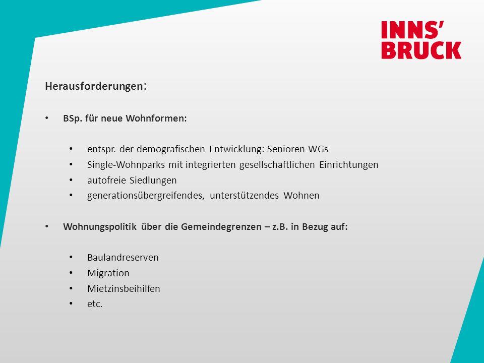 Herausforderungen : BSp. für neue Wohnformen: entspr.