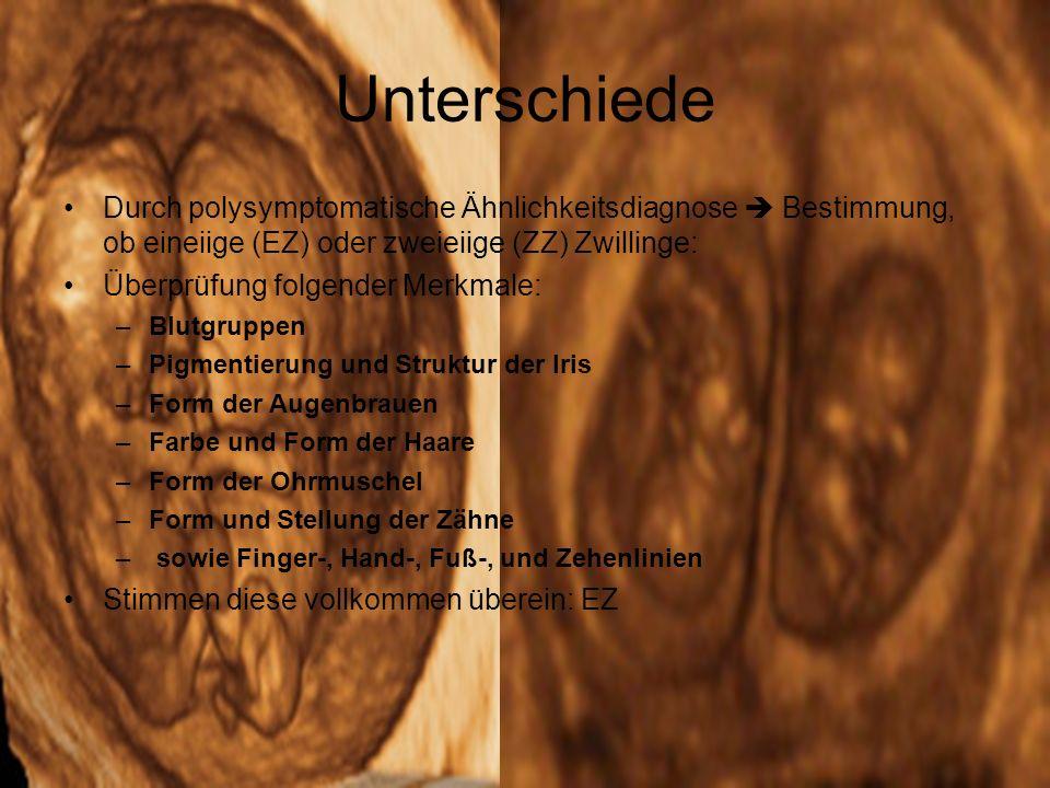 Unterschiede Durch polysymptomatische Ähnlichkeitsdiagnose  Bestimmung, ob eineiige (EZ) oder zweieiige (ZZ) Zwillinge: Überprüfung folgender Merkmale: –Blutgruppen –Pigmentierung und Struktur der Iris –Form der Augenbrauen –Farbe und Form der Haare –Form der Ohrmuschel –Form und Stellung der Zähne – sowie Finger-, Hand-, Fuß-, und Zehenlinien Stimmen diese vollkommen überein: EZ