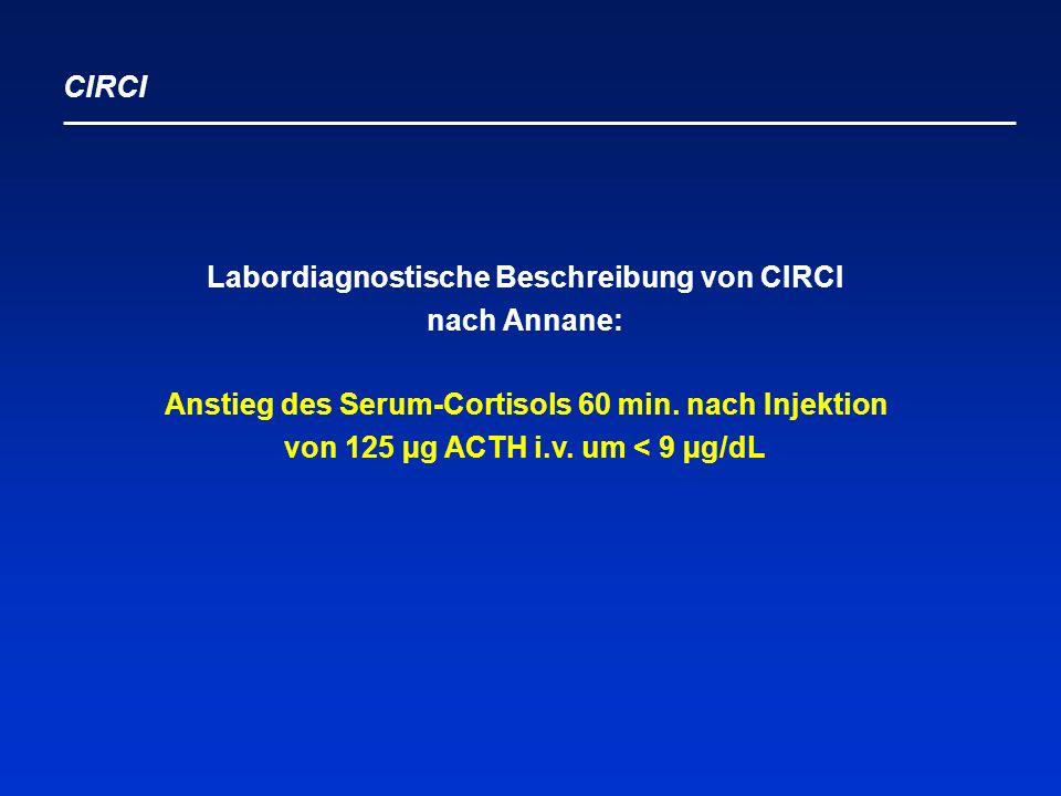 Labordiagnostische Beschreibung von CIRCI nach Annane: Anstieg des Serum-Cortisols 60 min.