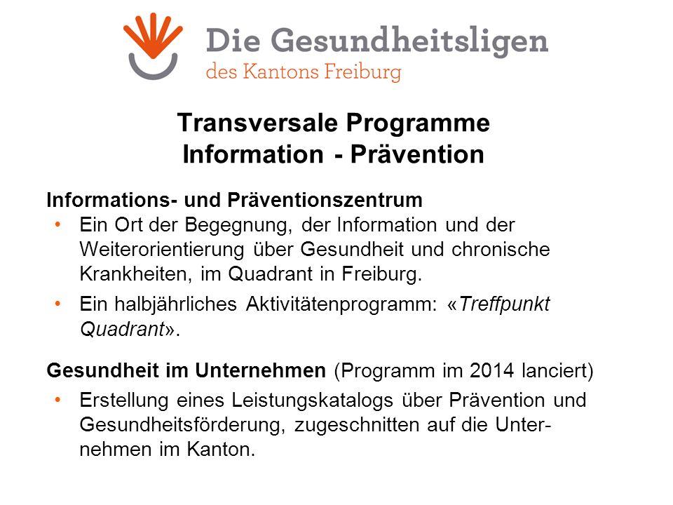 Transversale Programme Information - Prävention Informations- und Präventionszentrum Ein Ort der Begegnung, der Information und der Weiterorientierung über Gesundheit und chronische Krankheiten, im Quadrant in Freiburg.
