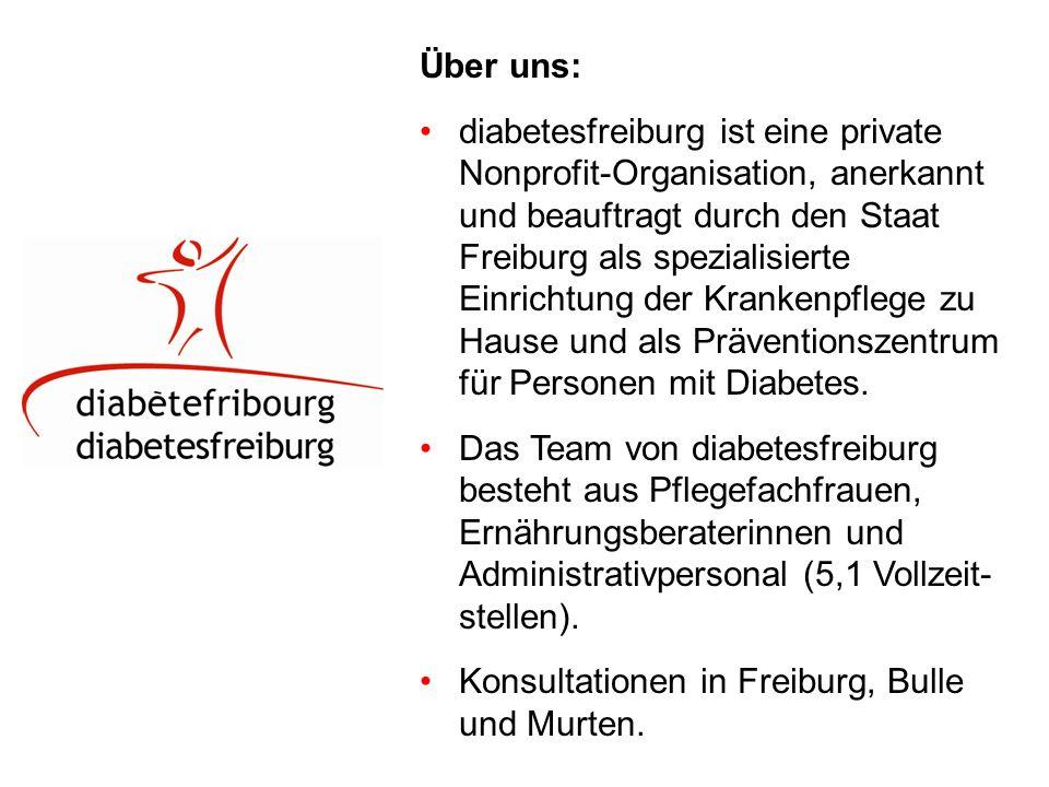 Über uns: diabetesfreiburg ist eine private Nonprofit-Organisation, anerkannt und beauftragt durch den Staat Freiburg als spezialisierte Einrichtung der Krankenpflege zu Hause und als Präventionszentrum für Personen mit Diabetes.