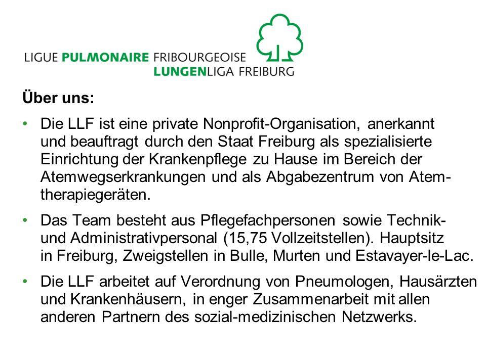 Über uns: Die LLF ist eine private Nonprofit-Organisation, anerkannt und beauftragt durch den Staat Freiburg als spezialisierte Einrichtung der Krankenpflege zu Hause im Bereich der Atemwegserkrankungen und als Abgabezentrum von Atem- therapiegeräten.