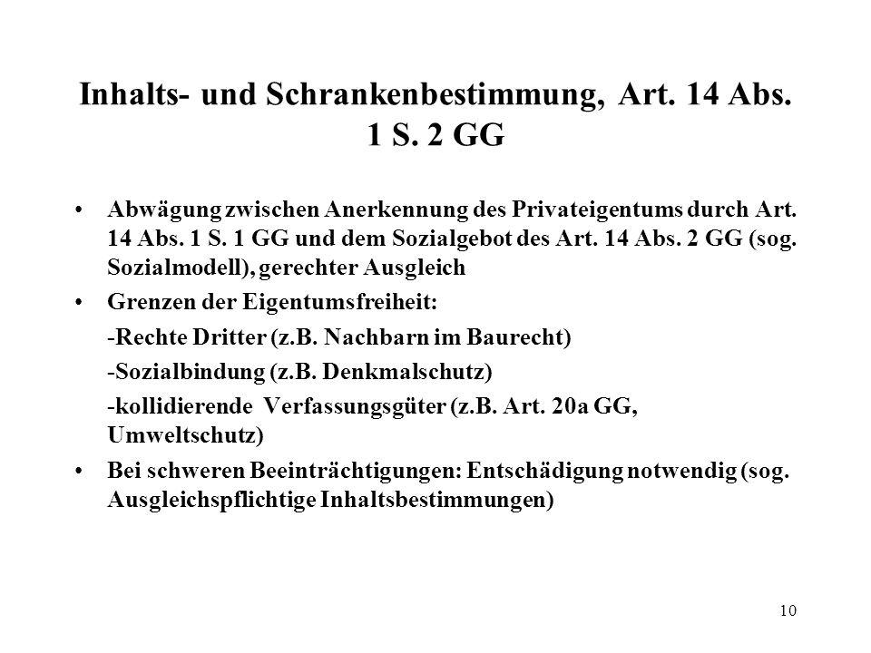 10 Inhalts- und Schrankenbestimmung, Art.14 Abs. 1 S.