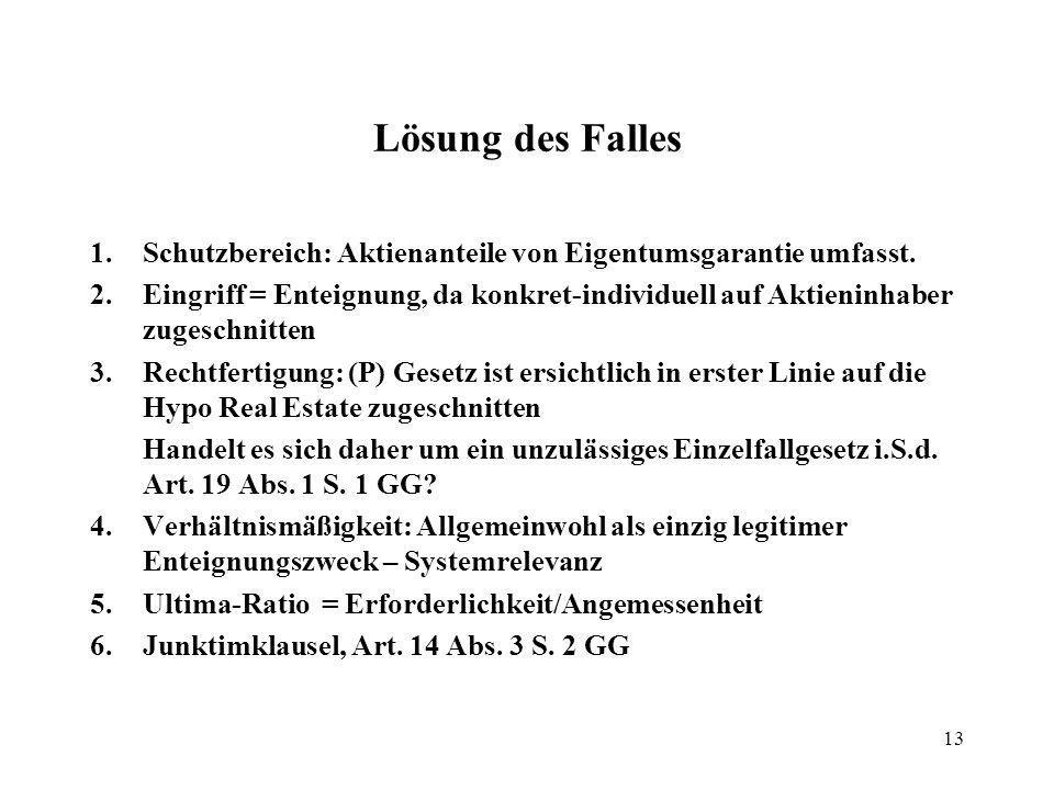 13 Lösung des Falles 1.Schutzbereich: Aktienanteile von Eigentumsgarantie umfasst.