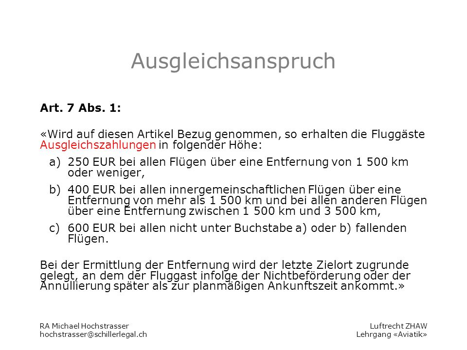 Luftrecht ZHAW Lehrgang «Aviatik» Ausgleichsanspruch Art.