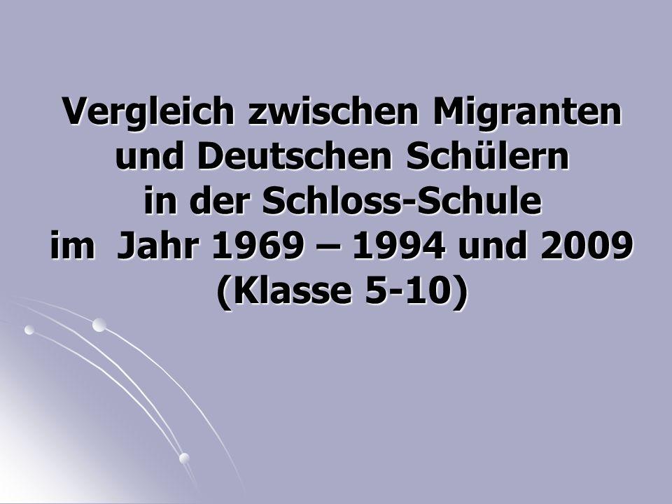 Vergleich zwischen Migranten und Deutschen Schülern in der Schloss-Schule im Jahr 1969 – 1994 und 2009 (Klasse 5-10)
