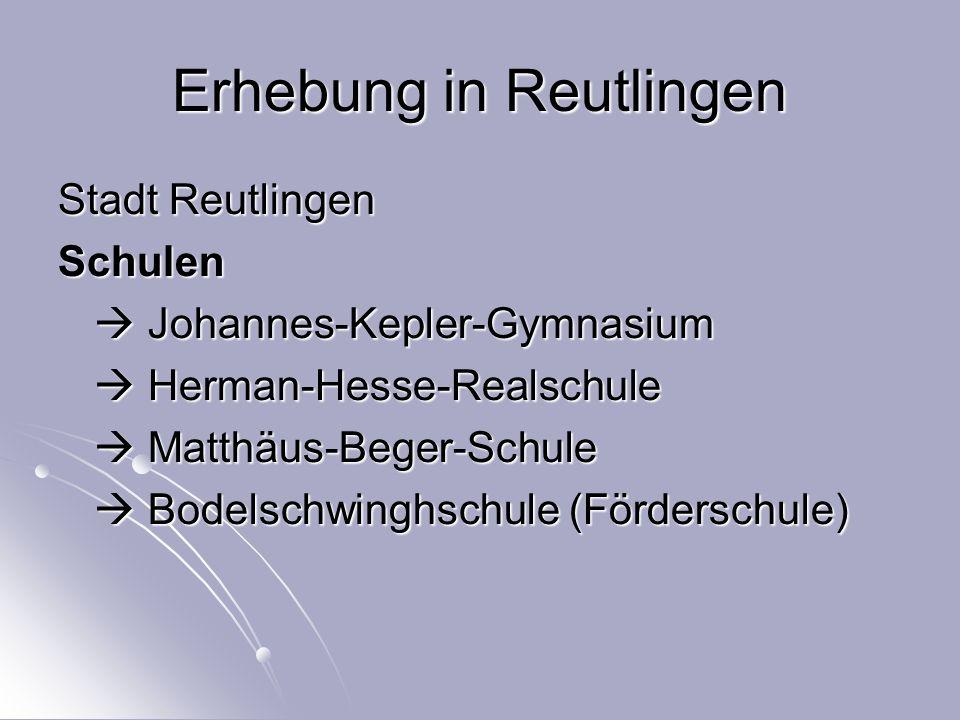 Erhebung in Reutlingen Stadt Reutlingen Schulen  Johannes-Kepler-Gymnasium  Herman-Hesse-Realschule  Matthäus-Beger-Schule  Bodelschwinghschule (Förderschule)