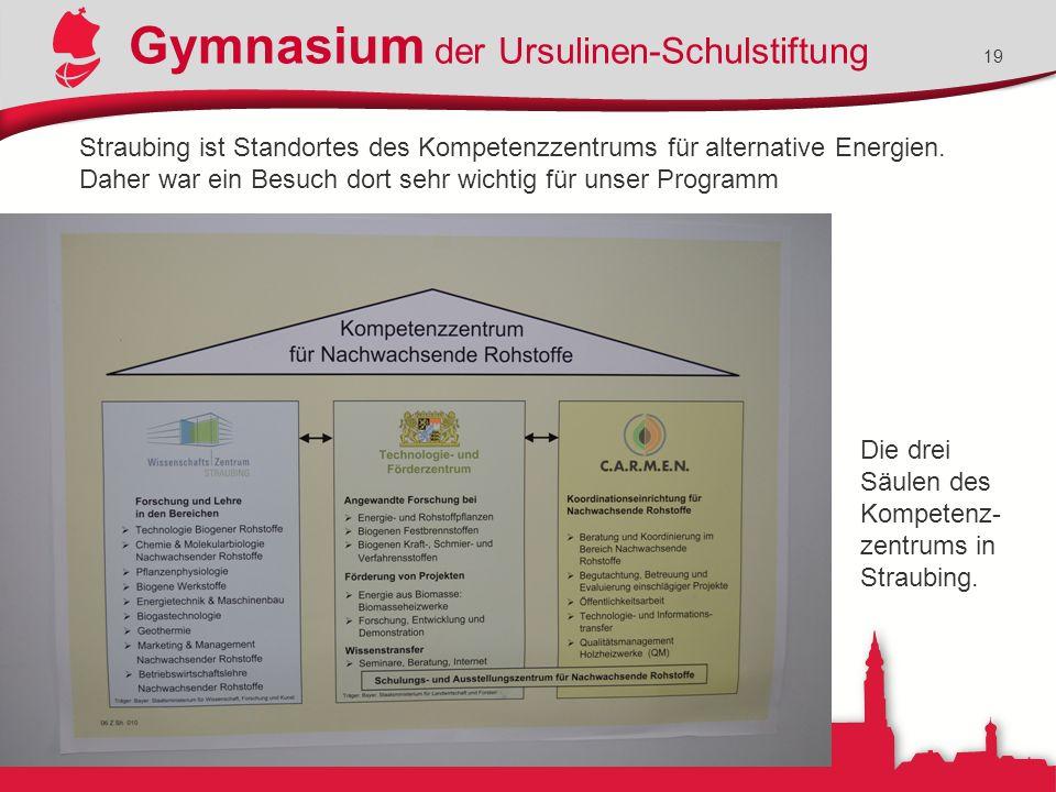 Gymnasium der Ursulinen-Schulstiftung 19 Straubing ist Standortes des Kompetenzzentrums für alternative Energien. Daher war ein Besuch dort sehr wicht