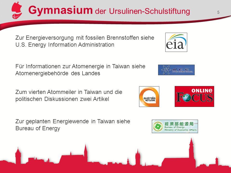 Gymnasium der Ursulinen-Schulstiftung 5 Zur Energieversorgung mit fossilen Brennstoffen siehe U.S.