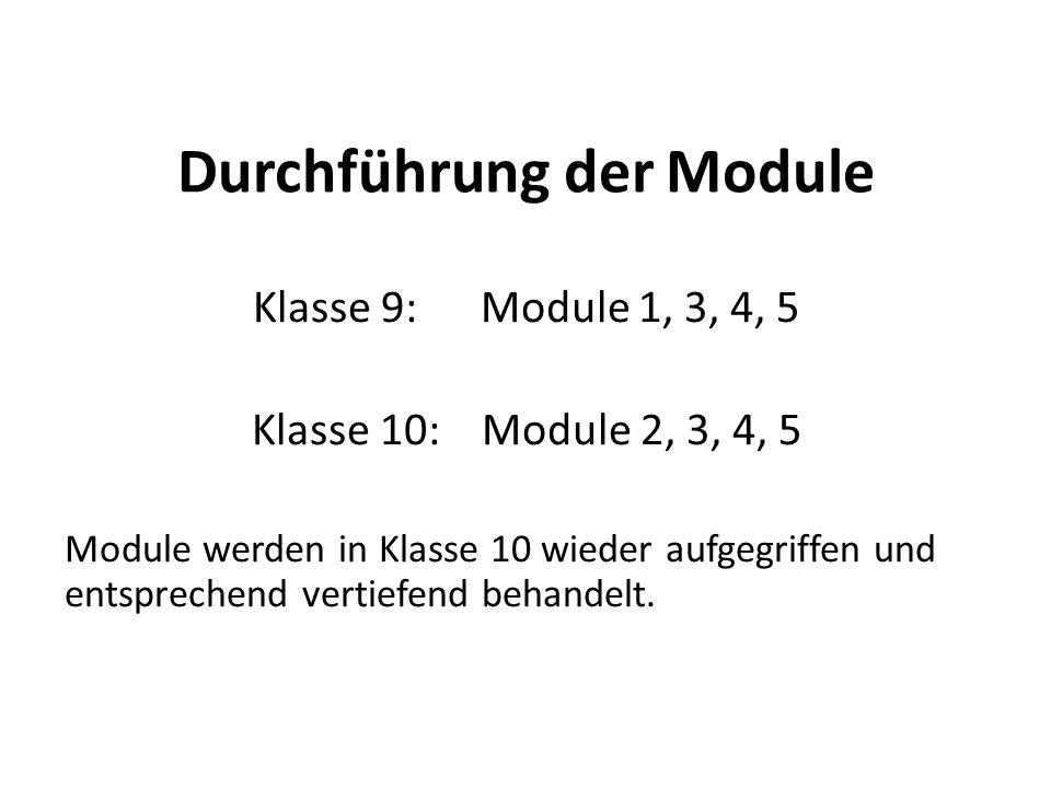 Durchführung der Module Klasse 9: Module 1, 3, 4, 5 Klasse 10: Module 2, 3, 4, 5 Module werden in Klasse 10 wieder aufgegriffen und entsprechend vertiefend behandelt.