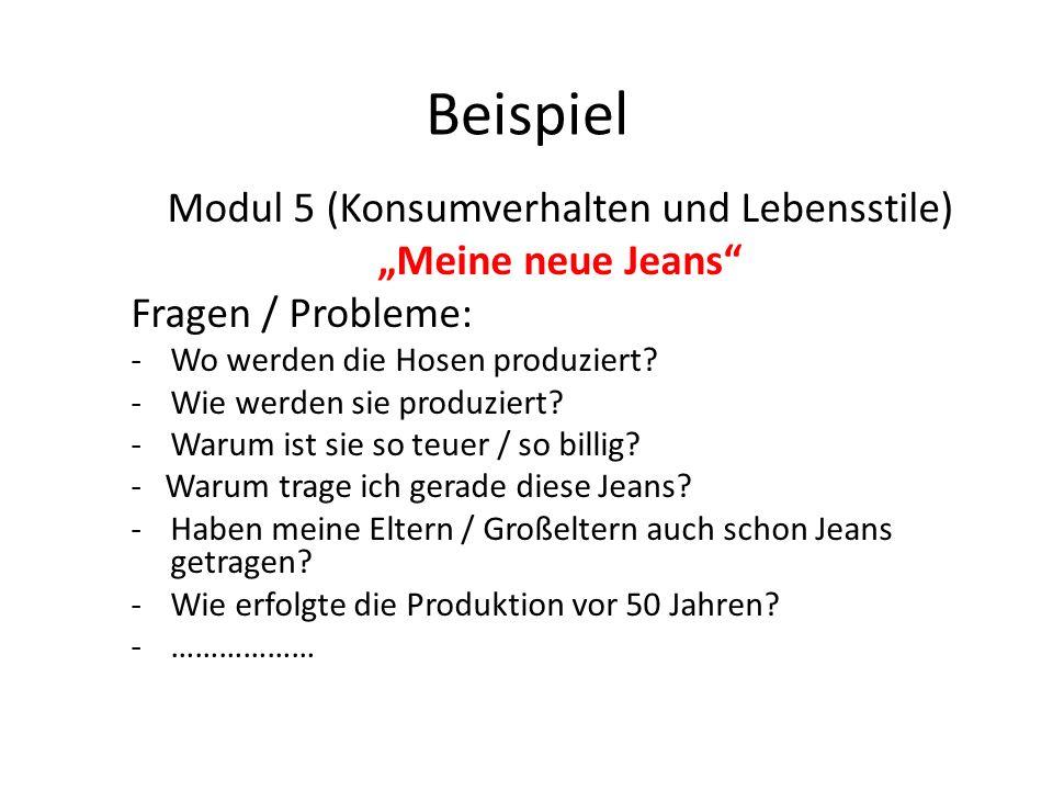 """Beispiel Modul 5 (Konsumverhalten und Lebensstile) """"Meine neue Jeans Fragen / Probleme: -Wo werden die Hosen produziert."""