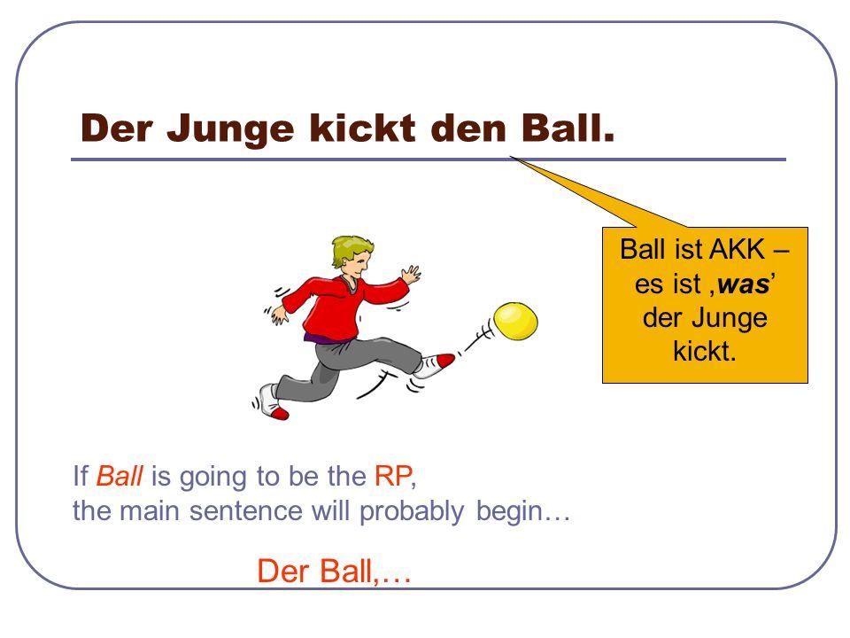 Der Ball, den der Junge kickt, ist gelb. Nominativ gleich nach dem AKK RP Was?