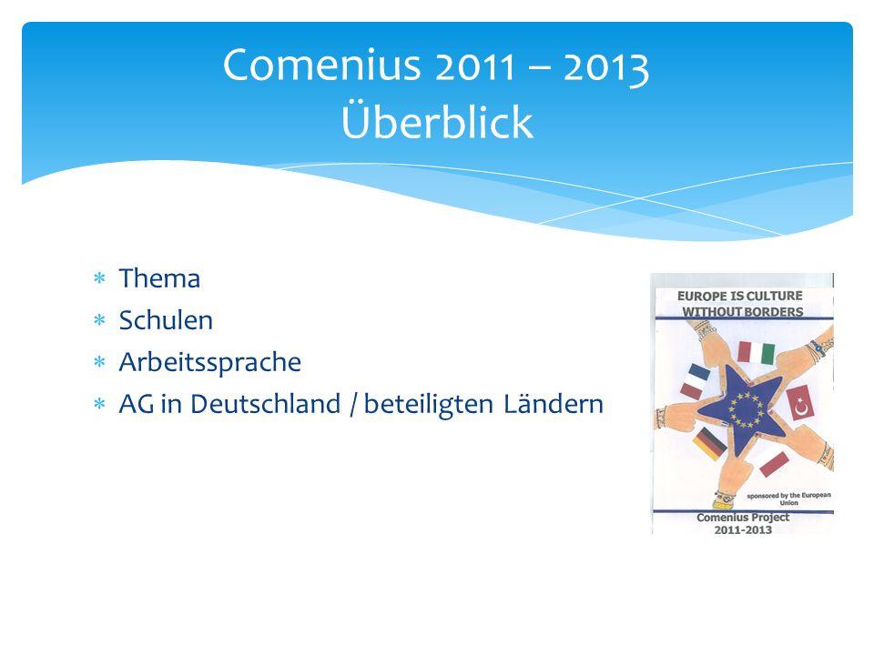  Thema  Schulen  Arbeitssprache  AG in Deutschland / beteiligten Ländern Comenius 2011 – 2013 Überblick