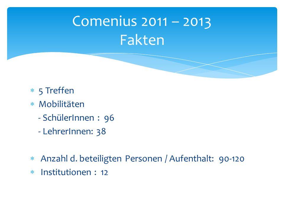  5 Treffen  Mobilitäten - SchülerInnen : 96 - LehrerInnen: 38  Anzahl d.