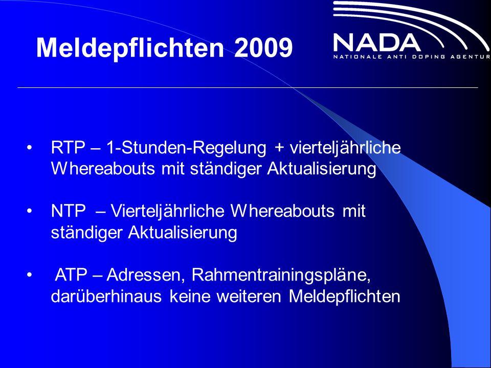 Meldepflichten 2009 RTP – 1-Stunden-Regelung + vierteljährliche Whereabouts mit ständiger Aktualisierung NTP – Vierteljährliche Whereabouts mit ständiger Aktualisierung ATP – Adressen, Rahmentrainingspläne, darüberhinaus keine weiteren Meldepflichten