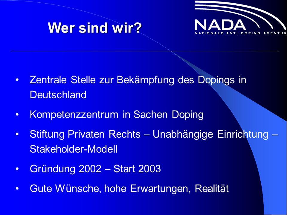 Zentrale Stelle zur Bekämpfung des Dopings in Deutschland Kompetenzzentrum in Sachen Doping Stiftung Privaten Rechts – Unabhängige Einrichtung – Stakeholder-Modell Gründung 2002 – Start 2003 Gute Wünsche, hohe Erwartungen, Realität Wer sind wir